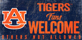 Auburn Tigers Wood Sign Fans Welcome 12x6