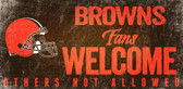 Cleveland Browns Wood Sign Fans Welcome 12x6