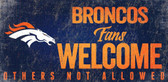 Denver Broncos Wood Sign Fans Welcome 12x6