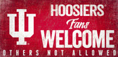 Indiana Hoosiers Wood Sign Fans Welcome 12x6
