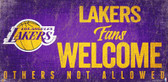Los Angeles Lakers Wood Sign Fans Welcome 12x6