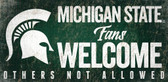 Michigan State Spartans Wood Sign Fans Welcome 12x6