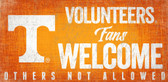 Tennessee Volunteers Wood Sign Fans Welcome 12x6