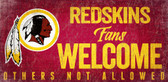Washington Redskins Wood Sign Fans Welcome 12x6