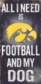 Iowa Hawkeyes Wood Sign - Football and Dog 6x12