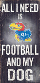 Kansas Jayhawks Wood Sign - Football and Dog 6x12