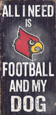 Louisville Cardinals Wood Sign - Football and Dog 6x12