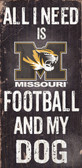 Missouri Tigers Wood Sign - Football and Dog 6x12