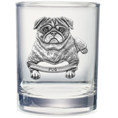 Pug Double Old Fashioned Glass Set of 2