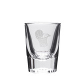 Basketball Hoop Deep Etched Crystal Shot Glass