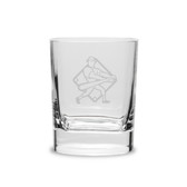 Baseball Player Swing 11.75 oz. Deep Etched Double Old Fashioned Glass