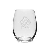 Baseball Player Swing 15 oz. Deep Etched Stemless Wine Glass