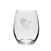 Basketball Hoop Swing 15 oz. Deep Etched Stemless Wine Glass