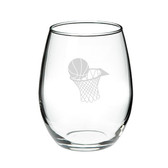 Basketball Hoop 21 oz. Deep Etched Stemless Wine Glass