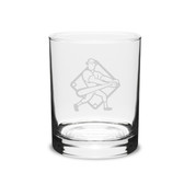 Baseball Player Swing 14 oz. Deep Etched Double Old Fashion Glass