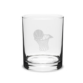 Basketball Hoop 14 oz. Deep Etched Double Old Fashion Glass