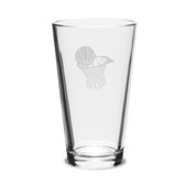 Basketball Hoop Deep Etched 16oz Pub Glass