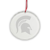 Michigan State Spartan Deep Etched Round Crystal Ornament