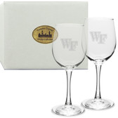 Wake Forest Demon Deacons Deep Etched 12 oz. White Wine Glass Set of 2