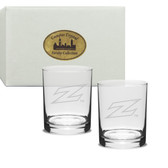 Akron Zips Deep Etched 14 oz. Double Old Fashion Glass Set of 2