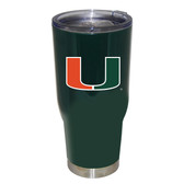 Miami Hurricanes 32oz Decal Powder Coated Stainless Steel Tumbler