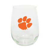 Clemson Tigers 15oz Decorated Stemless Wine Glass