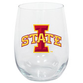 Iowa State Cyclones 15oz Decorated Stemless Wine Glass