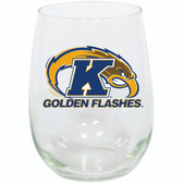 Kent State 15oz Decorated Stemless Wine Glass