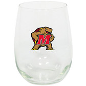 Maryland Terrapins 15oz Decorated Stemless Wine Glass