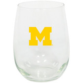 Michigan Wolverines 15oz Decorated Stemless Wine Glass
