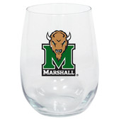Marshall Thundering Herd 15oz Decorated Stemless Wine Glass