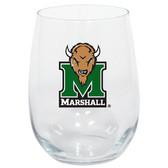 Marshall Thundering Herd 15oz Decorated Stemless Wine Glass