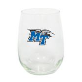 Middle Tennessee Blue Raiders 15oz Decorated Stemless Wine Glass