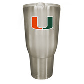 Miami Hurricanes 32oz Stainless Steel Decal Tumbler