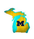 Michigan Wolverines Sign Wood Logo State Design