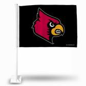 Louisville Cardinals Black Primary Logo Car Flag