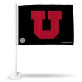 Utah Utes Black and Red Car Flag