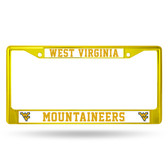West Virginia Mountaineers YELLOW COLORED Chrome Frame