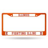 Illinois Fighting Illini ORANGE COLORED Chrome Frame