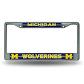 Michigan Wolverines Bling Chrome Frame