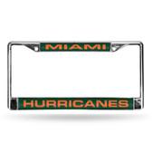 Miami Hurricanes GREEN LASER Chrome Frame