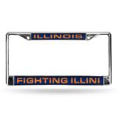 Illinois Fighting Illini BLUE LASER Chrome Frame