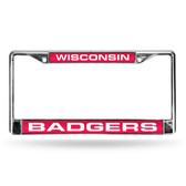 Wisconsin Badgers  RED LASER Chrome Frame