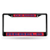 Ole Miss Rebels BLACK LASER Chrome Frame