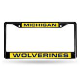 Michigan Wolverines BLACK LASER Chrome Frame
