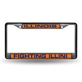 Illinois Fighting Illini BLACK LASER Chrome Frame