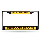 Wyoming Cowboys BLACK LASER Chrome Frame