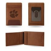 Clemson Tigers Premium Leather Front Pocket Wallet