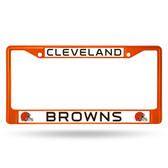 Cleveland Browns ORANGE COLORED Chrome Frame