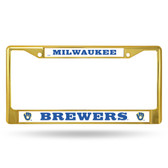 Milwaukee Brewers COLORED Chrome Frame SECONDARY GOLD